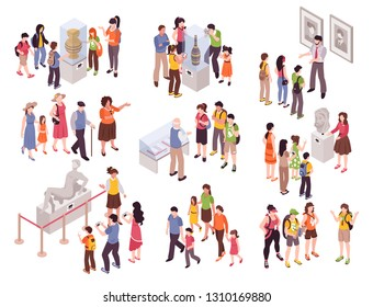 Isometric guide excursion set with isolated groups of human characters with museum specimen pieces and sightsmen vector illustration