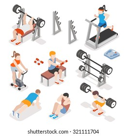 Isometric gym workout flat vector set. Men and women pumping iron illustration. Fitness concepts. Exercise training, strength physical illustration