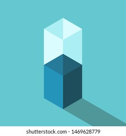 Isometric half empty or full glass of water. Motivation, optimism, pessimism, positive and negative thinking concept. Flat design. EPS 8 vector illustration, no transparency, no gradients