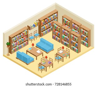 Isometric hall of library, book shelves. Vector illustration