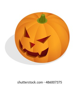 Isometric Halloween pumpkin head jack lantern.