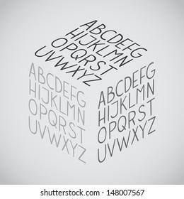 Isometric Hand draw vector full alphabet set. The vector Roman alphabet.