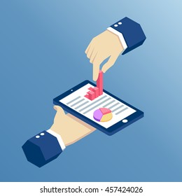 isometric hand holding pnone and pulls from it a bar graph, isometric design infographic on smartphone with hands, business concept web analytics