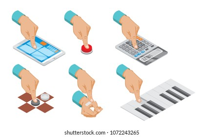 Isometric hand indicates gesture set with button press tablet touch calculator counting plaster paste piano checkers playing isolated vector illustration