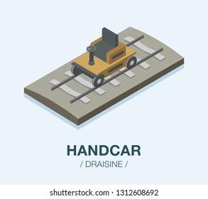 Isometric handcar on railway. Cartoon draisine. Flat vector illustration.