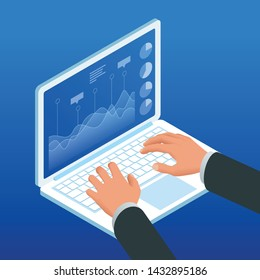Isometric hands on the laptop keyboard. Businessman work chart schedule, planning financial report data methodology.