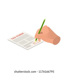 isometric hands sign a tax form, signing agreement business concept, isometric hand takes the tax form to sign