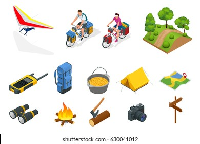 Isometric hang glider, bikers on bicycle with travelling bag for travel, Camping equipment isolated on white Vector collection. Base camp gear and accessories.