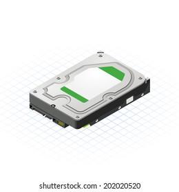 Isometric Hard Disk Vector Illustration