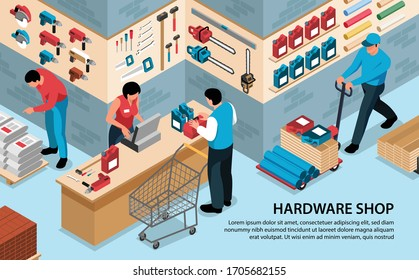 Isometric hardware tools shop horizontal background with text and indoor view of tool store with people vector illustration