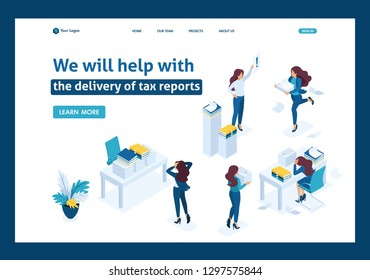 Isometric The head of the audit company swears at subordinates, the delivery of the tax report. Website Template Landing page
