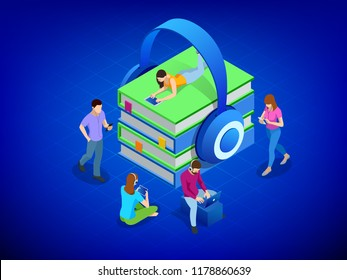 Isometric headphones with a books. Concept the audiobook. People listening audiobook downloaded on smartphone in modern earphones sitting in coworking. Modern vector illustration