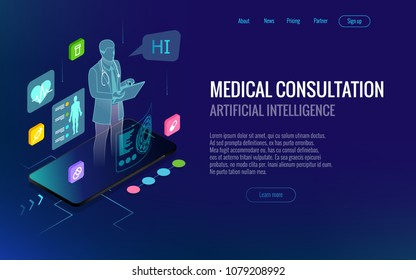 Isometric healthcare, diagnostics and online medical consultation app on smartphone. Digital health concept with a doctor standing on phone surrounded by assorted medical icons. Innovative technology.