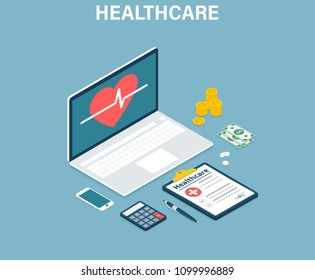 Isometric Healthcare and technology concept banner. Medical exams and online consultation concept. Medicine. Vector illustration