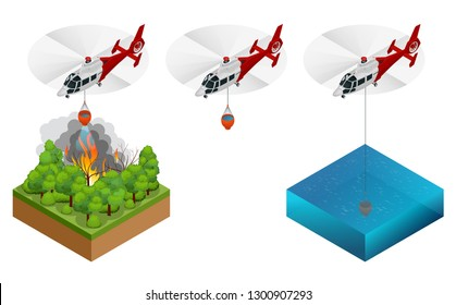 Isometric helicopter dropping water on a fire. Forest fire helicopter vector illustration