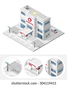 Isometric High Quality City Element with 45 Degrees Shadows on White Background. Hospital