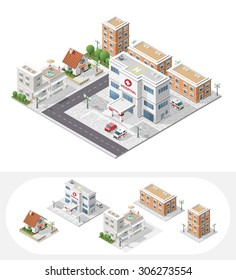 Isometric High Quality City Element with 45 Degrees Shadows on White Background