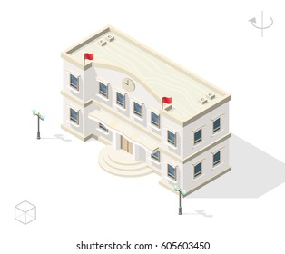 Isometric High Quality City Element with 45 Degrees Shadows on White Background . Town Hall