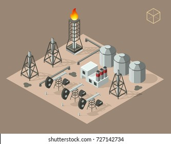 Isometric High Quality City Element on Brown Background . Oil Rig Industry