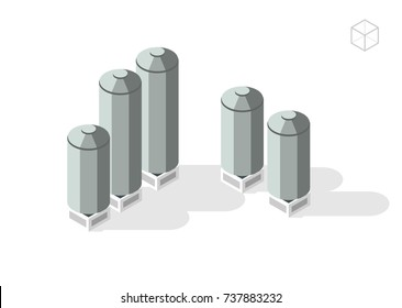 Isometric High Quality City Element on White Background . Silos