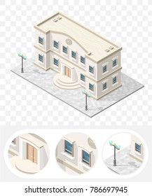 Isometric High Quality City Element with 45 Degrees Shadows on Transparent Background . School