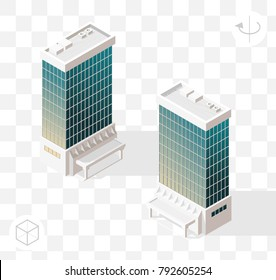 Isometric High Quality City Element with 45 Degrees Shadows on Transparent Background . Skyscraper
