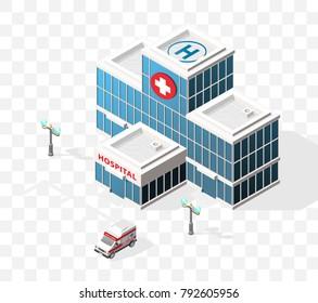 Isometrisches hochwertiges City-Element mit 45 Grad Schatten auf transparentem Hintergrund . Krankenhaus