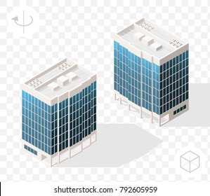 Isometric High Quality City Element with 45 Degrees Shadows on Transparent Background . Skyscraper . Two Positions ( Left and Right )
