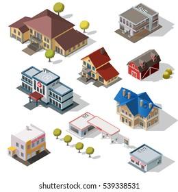 Isometric High Quality City Street Urban Buildings