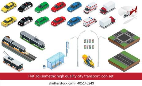 Isometric high quality city transport icon set. Police, taxi, truck, safari travel car, Mini, subway train, bus, helicopter, street road, sedan. Vector illustration.
