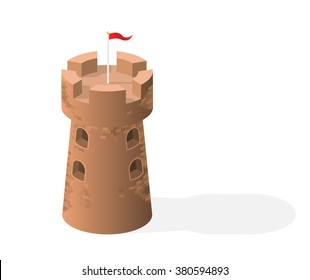 Isometric High Quality Medieval Element with 45 Degrees Shadows on White Background. Tower.