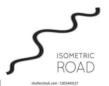 Isometric highway, curved road with markings. 3D vector illustration on white