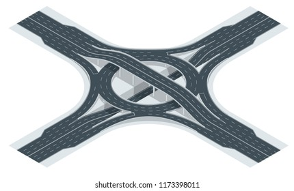 Isometric highway junction road and interchange overpass. Vector illustration