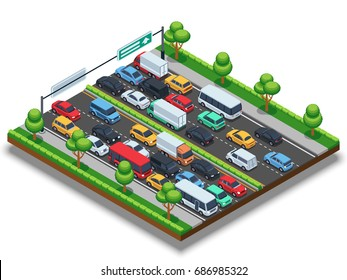 Isometric highway with traffic jam. 3d transportation vector concept with cars and trucks. Car on highway in traffic jam illustration