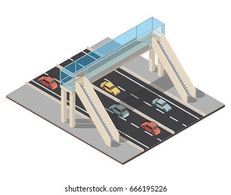 Isometric highway traffic vector illustration