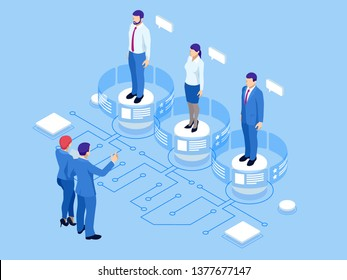 Isometric hiring and recruitment concept for web page, banner, presentation. Isometric Online job search and human resource concept.
