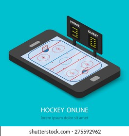 Isometric hockey watching online concept. Hockey rink and scoreboard on smartphone tablet, vector illustration