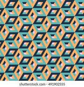 Isometric hollow cube pattern, vector illustration