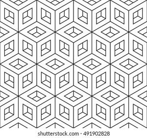 Isometric hollow cube pattern, vector illustration