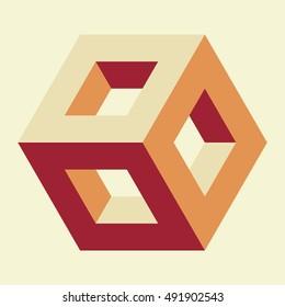 Isometric hollow cube, vector illustration