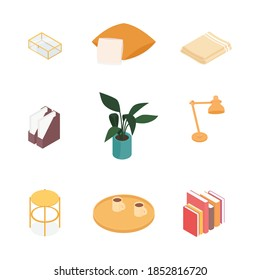 Isometric home decoration and furniture set. Vector collection. Illustration in flat design.