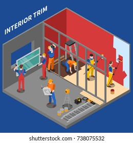 Isometric home repair worker people composition interior trim by group of workers vector illustration