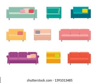 Isometric of home sofa vector icon. Set