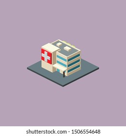 Isometric Hospital Color Isolated Images