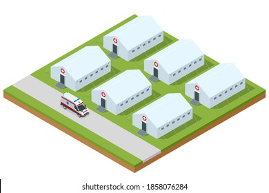 Isometric hospital field tent for the first AID and ambulance, a mobile medical unit for patient with Corona Virus. Camp room for people infected with an epidemic