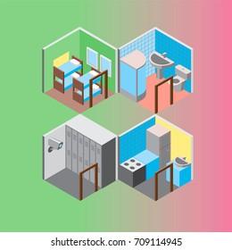 Isometric hostel rooms set vector illustration