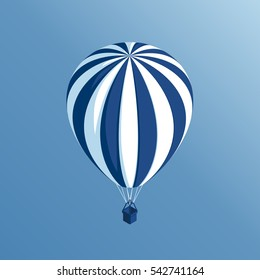 isometric hot air balloon flies on a background of blue sky vector illustration