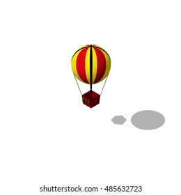 Isometric hot air balloon. Isometric map piece.