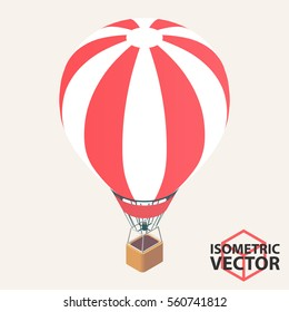 Isometric Hot Air Balloon \ Vector