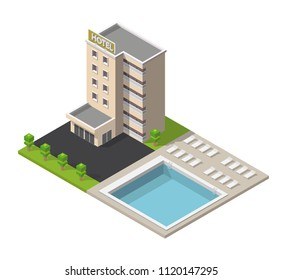 Isometric hotel building with pool low poly illustration